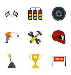 Car race icons set flat style vector