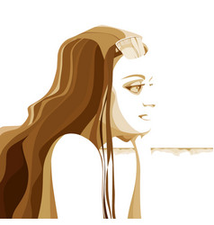 Cartoon beautiful woman with long hair in profile vector