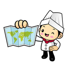 Cartoon cook character is holding a world map vector
