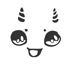 cheerful little face with horns vector image