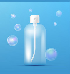 Clean plastic bottle template with dispenser for vector