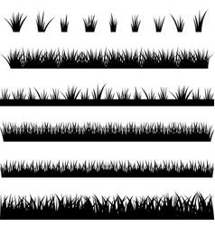 Collection of silhouettes of grass vector