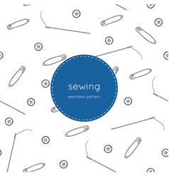 color set of objects for sewing seamless pattern vector image