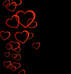 Floating red hearts background vector image vector image