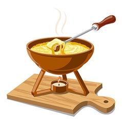 Hot cheese fondue vector