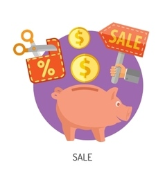 Internet Shopping and Sale Flat Icons vector image vector image