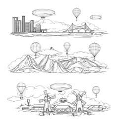 Landscapes with hot air balloons parade vector