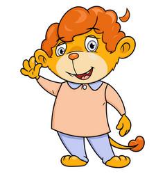 little lion waving hand vector image vector image