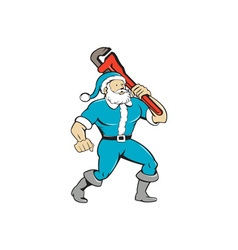Muscular santa claus plumber wrench isolated vector