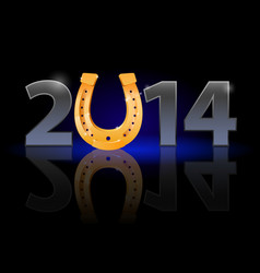 New year 2014 metal numerals with golden vector