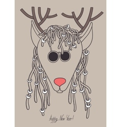 Original hipster christmas deer with sunglasses vector