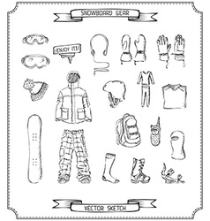 Pencil sketch of snowboard gear vector