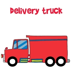 Red delivery truck art vector image