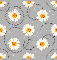 seamless chamomile pattern on gray background vector image vector image