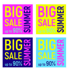 Set of four big sale banners geometric memphis vector