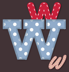 Set of stitched font - Letter W vector image vector image