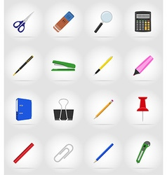 stationery flat icons 17 vector image