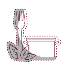Sticker pot kitchen with fork tool and leaves vector