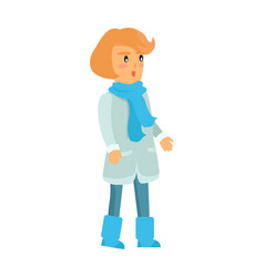 Surprised girl in warm winter clothes isolated vector
