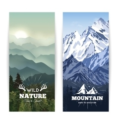 Vertical mountains banners vector
