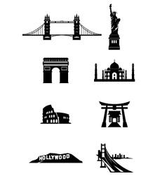 World landmark silhouettes vector