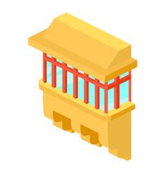 yellow balcony icon isometric 3d style vector image vector image