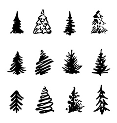 Christmas tree icon brush hand made stroke ink vector