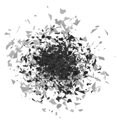 Explosion cloud of grey pieces vector