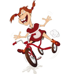 The cheerful girl and tricycle vector