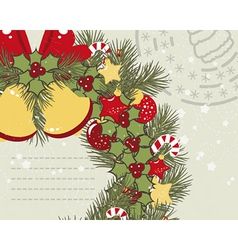 Retro Christmas background with Christmas wreath vector image