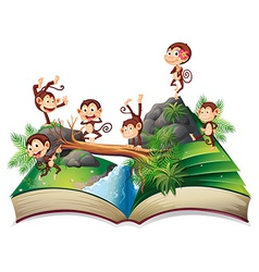 Pop-up book with monkeys vector image