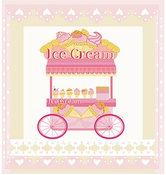 Vendor ice cream mobile booth abstract card vector