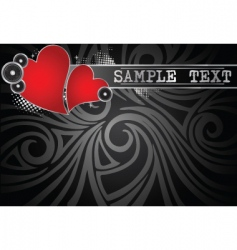 music background with hearts vector image