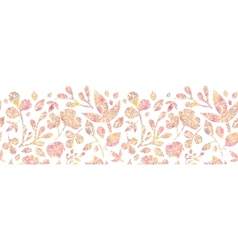 Textured pastel leaves horizontal seamless pattern vector
