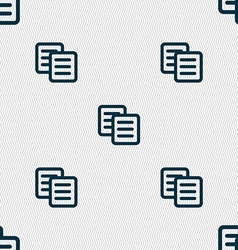 Copy icon sign seamless pattern with geometric vector