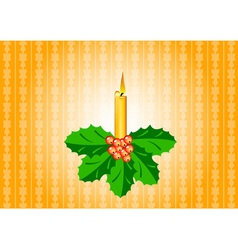 Candle with ilex vector