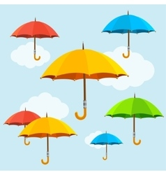 Colorful umbrellas fly background flat vector