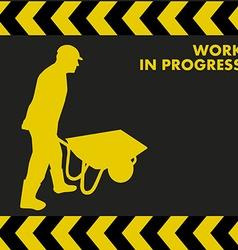 Work in progress sign with worker carries a vector