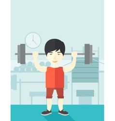 Man with barbell vector