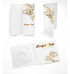 Pamphlet and cd set in floral design vector