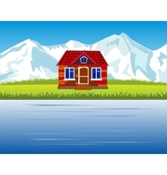 Lodge in mountain high vector