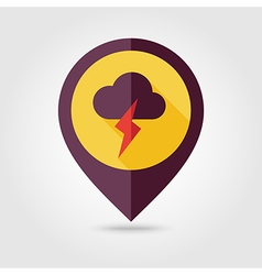 Cloud Lightning flat pin map icon Weather vector image