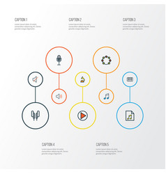 Audio colorful outline icons set collection of vector