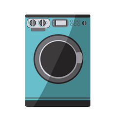 blue color silhouette of washing machine vector image