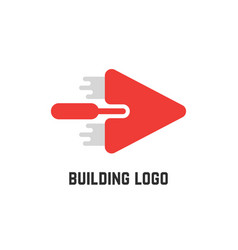 building logo with red trowel vector image