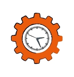 Clock with gear piece vector