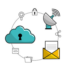 Cloud security data banner information vector