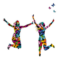 collorful with silhouettes of women jumping and vector image vector image