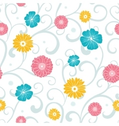 Colorful flowers on swirly braches seamless vector