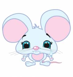 cute sad mouse vector image vector image